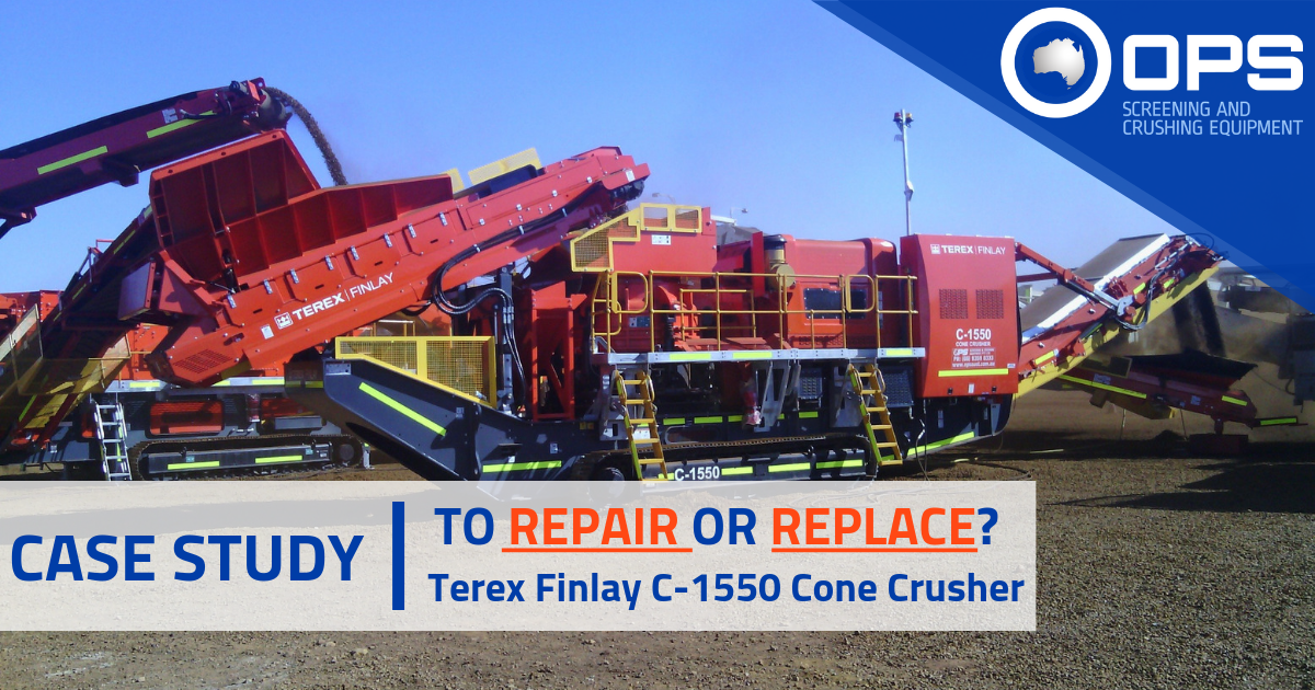Terex Finlay C-1550 Cone Crusher Blog Post Header with OPS Logo